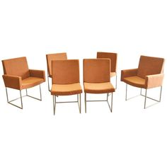 Set of Six Milo Baughman Chrome Architectural Box Frame Chairs, 1970. | From a unique collection of antique and modern chairs at http://www.1stdibs.com/furniture/seating/chairs/