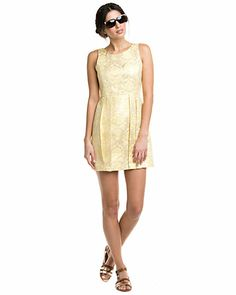 """Some of you have to get in on this: DV by Dolce Vita """"Misha"""" Gold Jacquard Dress"""