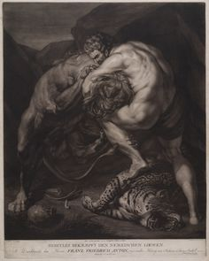 Hercules Fights the Nemean Lion - Johann Joseph Freidhoff Greek Wrestling, Nemean Lion, Greek And Roman Mythology, Carthage, Cool Art, Nice Art, Hercules, Animal Drawings, Sketches