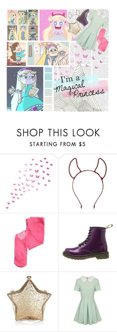 """BOTC Round 9// Star Butterfly"" by art-by-rose ❤ liked on Polyvore featuring WALL, Topshop, Disney, H&M, Dr. Martens, Lavish Alice and Seed Design"