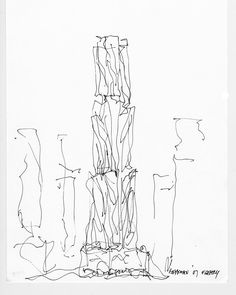 A design sketch of 8 Spruce Street in New York designed by Frank Gehry. (Photo: Courtesy Gehry Partners)  #AGehryADay #GehryXSurface #NovemberIssue #SurfaceMag