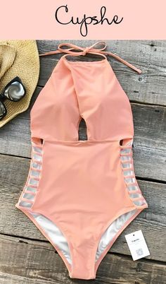 Glamorous New Arrival Comes! Cupshe Gone With the Wind Solid One-piece Swimsuit features halter design and strappy-details at sides. Solid pink makes it so cute! Good quality & comfy feeling are must-have tags! Free shipping! Shop now! #comfystyle