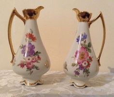 A Pair Of Antique Limoges Vases, Very Beautiful Floral Design by MerryLegsandTiptoes on Etsy