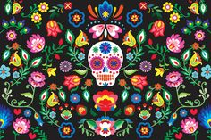 This fun girls bedroom design will add a stylish new element to their space, the Mexican Sugar Skull Wallpaper features bright colours and pattern they will love. Mexican Skulls, Mexican Folk Art, Sugar Skull Wallpaper, Skull Wallpaper Iphone, Rose Wallpaper, Mexican Pattern, Mexican Flowers, Day Of The Dead Art, Sugar Skull Art