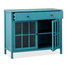 Windham 2 Door Accent Buffet, Cabinet with Shelves - Teal (Blue) - Threshold
