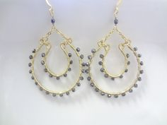 Art Deco, Metallic, Wire Wrapped, Fine 14K Gold Filled, Large Chandelier Earrings, Trendy, Fashion, Custom, Handmade Jewelry, Jewellery
