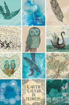 Blue Bird Tags - Digital Download Set of 12 Sweet William illustrative tags