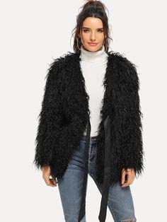 Ribbon Tie Front Shaggy Faux Fur Coat | SHEIN