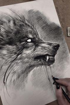 Art Drawings Sketches Simple, Pencil Art Drawings, Tattoo Sketches, Animal Drawings, Cool Drawings, Wolf Tattoo Design, Wolf Design, Wolf Tattoo Sleeve, Wolf Sketch