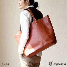 【送料無料】esperanto [エスペラント] モンタナレザー × エスペラントレザービッグ トートバッグ(キャメル)日本製 メンズ バッグ レザー 本革 革 大きめ A4 ESP-6291【楽天市場】