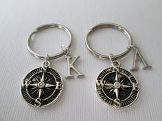 2 Compass Initial Best Friends Keychains. by HazelSarai on Etsy, $18.00