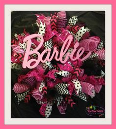 Barbie Wreath*Funky*Pink*Child*Children*Black & Pink*Barbie Collectors*Girl's Room*Office Decor*Home Decor*Deco Mesh*Door Wreath by TootsieSuesWreaths on Etsy https://www.etsy.com/listing/183844474/barbie-wreathfunkypinkchildchildrenblack