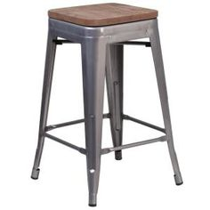 Flash Furniture Clear Coated Counter Bar Stool at Lowe's. Save on space with this Clear Coated Backless Metal Counter Stool with wood seat. The clean lines and simple design of this square, industrial style stool Metal Stool, Counter Height Bar Stools, Metal Bar Stools, Bar Counter, Bar Stool Covers, Stools With Backs, Modern Stools, Ergonomic Chair, Dining Room Bar