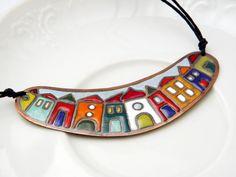 Necklace by Florentina on Etsy Ceramic Necklace, Ceramic Pendant, Polymer Clay Pendant, Ceramic Jewelry, Enamel Jewelry, Copper Jewelry, Polymer Clay Necklace, Clay Jewelry, Pendant Jewelry