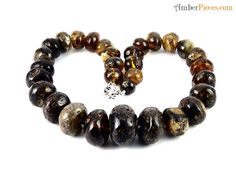 Exclusive Baltic Amber Necklace Dark color Oval Beads 55 cm 22 inches