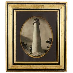 Gold and Black Frame with Lighthouse Photo