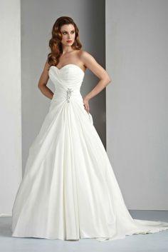 A-line Sweetheart Sleeveless Lace-up Taffeta Pick-ups Chapel Wedding Dress at Millybridal.com