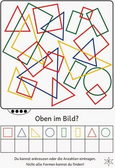 Lernstübchen: Find shapes in the picture Math Literacy, Preschool Worksheets, Learning Activities, Preschool Activities, Visual Perceptual Activities, E Learning, Study Skills, Math For Kids, Thinking Skills
