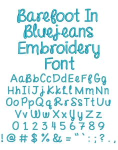 Barefoot in Bluejeans Embroidery Font