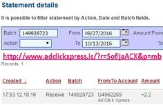 Here is my #74 Withdrawal Proof from Ad Click Xpress. I get paid daily and I can withdraw daily. Online income is possible with ACX, who is definitely paying - no scam here. I WORK FROM HOME less than 10 minutes and I manage to cover my LOW SALARY INCOME. If you are a PASSIVE INCOME SEEKER, then AdClickXpress (Ad Click Xpress) is the best ONLINE OPPORTUNITY for you. Join for FREE and get 20$ + 10$ + 5$ Monsoon, Ad and Media value packs from ACX.