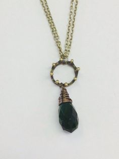 Queen Elinor Brave Inspired Necklace- Antique Gold Crown and Large Wire Wrapped Faceted Emerald Crystal Teardrop
