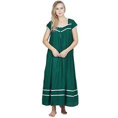 876eda3393 Patrorna Cotton Viscose Women s Blouson Nighty Night Dress Gown in Bottle  Green(Size S-7XL