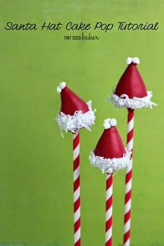 Santa Hat Cake Pop Tutorial from SixSisters Stuff