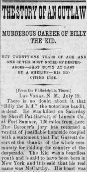Genealogical Gems: On This Day: Sheriff kills Billy the Kid