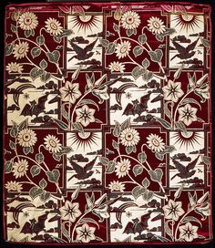 Aesthetic Movement furnishing fabric, silk brocade, c. 1880, alternating panels with either a bat, moon and star;  sun above a bird chasing an insect; or sunflowers which overlap the adjacent scenes; designed by George Charles Haité
