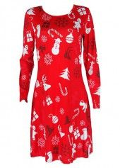 Long Sleeve Round Neck Santa Claus Print Dress on sale only US$21.09 now, buy cheap Long Sleeve Round Neck Santa Claus Print Dress at lulugal.com
