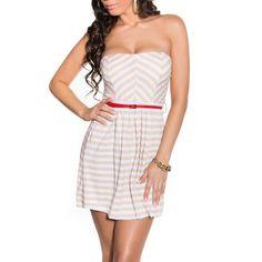 Pruhované letné šaty béžové | OblecTo.sk Strapless Dress, Dresses, Fashion, Strapless Gown, Vestidos, Moda, Fashion Styles, Dress, Fashion Illustrations