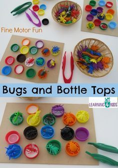 Bugs and Bottle Tops - simple, fun fine motor activity for kids. Make sure we have the right sized bottle tops and bugs! Fine Motor Activities For Kids, Motor Skills Activities, Sensory Activities, Fine Motor Skills, Preschool Activities, Sensory Rooms, Colour Activities, Physical Activities, Cognitive Development Activities