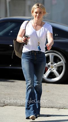 HIlary Duff Wearing Flare Jeans Heads To The Studio: http://rstyle.me/~4c4s4
