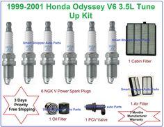 1999-2001 Honda Odyssey 3.5L V6 Tune Up Kit Spark Plugs Air Oil Cabin Filter PCV
