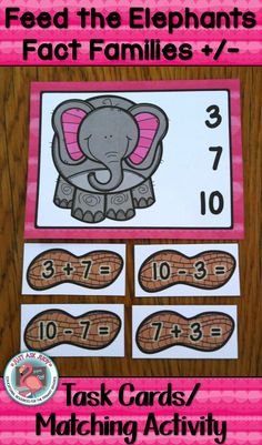 This attractive elephant and peanut themed resource is a perfect activity for your first and second grade students to practice addition and subtraction fact families in an individual/ small group instructional setting or as an independent math center. $