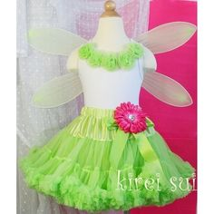 Girls Tinkerbell Fairy Princess Costume - Lime Green Pettiskirt / Tutu / Skirt, White Tank Top Rosettes & Wings(Hong Kong)