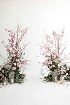 Think Pink! Natural Spring Wedding Inspiration With Cherry Blossoms The Effective Pictures We Offer You About wedding ceremony decorations pews A quality picture can tell you many things. You can find Cherry Blossom Wedding, Cherry Blossoms, Cherry Blossom Bouquet, Cherry Blossom Centerpiece, Cherry Blossom Decor, Spring Wedding Flowers, Floral Wedding, Spring Weddings, Wedding Ceremony Decorations