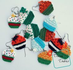 Free Crochet Cupcake Earrings pattern by DivineDebris.com