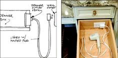 by DIY Hair Dryer Hidden Outlet Drawer How to install an electrical plug in a vanity drawer for hair dryer and curling iron.How to install an electrical plug in a vanity drawer for hair dryer and curling iron.