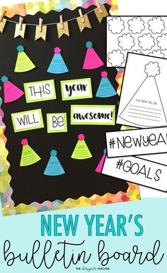 Celebrate the new year with this low-prep bulletin board kit! Students create a craftivity and complete a new year's resolution prompt, resulting in a beautiful display! New Years Activities, Winter Activities, Classroom Activities, Classroom Organization, Bulletin Board Display, Classroom Bulletin Boards, Classroom Decor, January Bulletin Board Ideas, Preschool Bulletin