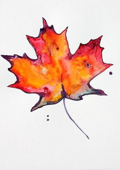 Maple Leaf Poster featuring the painting Maple Leaf by Pat Purdy – ThePins Autumn Painting, Autumn Art, Watercolor Leaves, Watercolor Art, Fall Leaves Tattoo, Fall Leaves Drawing, A Level Art, Painted Leaves, Leaf Art