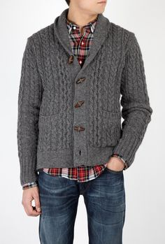 Grey Wool Cable Toggle Shawl Cardigan by Levi's Vintage Clot