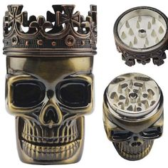 Crowned The King Skull Herb Grinder