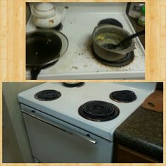Kitchen stove hadn't been cleaned in over a month. The family requested to come and provide in just the kitchen. Before and after pictures. Kitchen Stove, Kitchen Appliances, Before And After Pictures, Deep, Cleaning, Kitchen Stove Interior, Diy Kitchen Appliances, Oven, Home Appliances