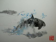 watercolor orca -