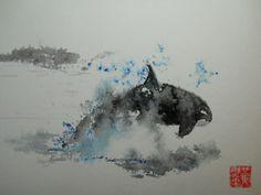 watercolor orca -