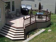 Would be interesting to have deck steps going down to a lower deck. Cheaper than a patio maybe