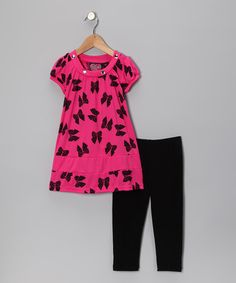 Take a look at this Pink Bow Tunic & Black Leggings - Toddler & Girls by No Kidding on #zulily today!