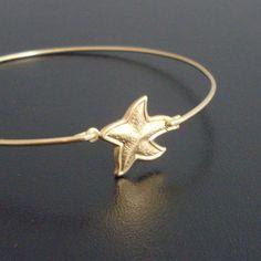 Starfish Bangle Bracelet Gold Starfish Bracelet by FrostedWillow, $15.50