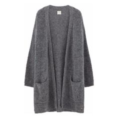 Grey Adimine Long Cardigan (380 AUD) ❤ liked on Polyvore featuring tops, cardigans, long grey cardigan, button top, button cardigan, grey cardigan and des petits hauts